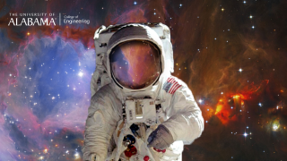 a space suit by the Orion Nebula