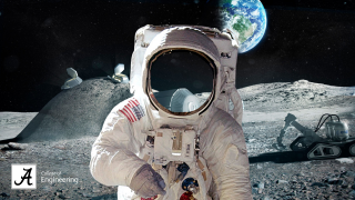 a space suit on a Moon Walk